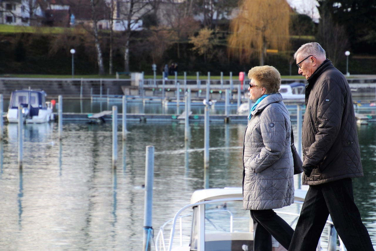 senior couple, lake, active