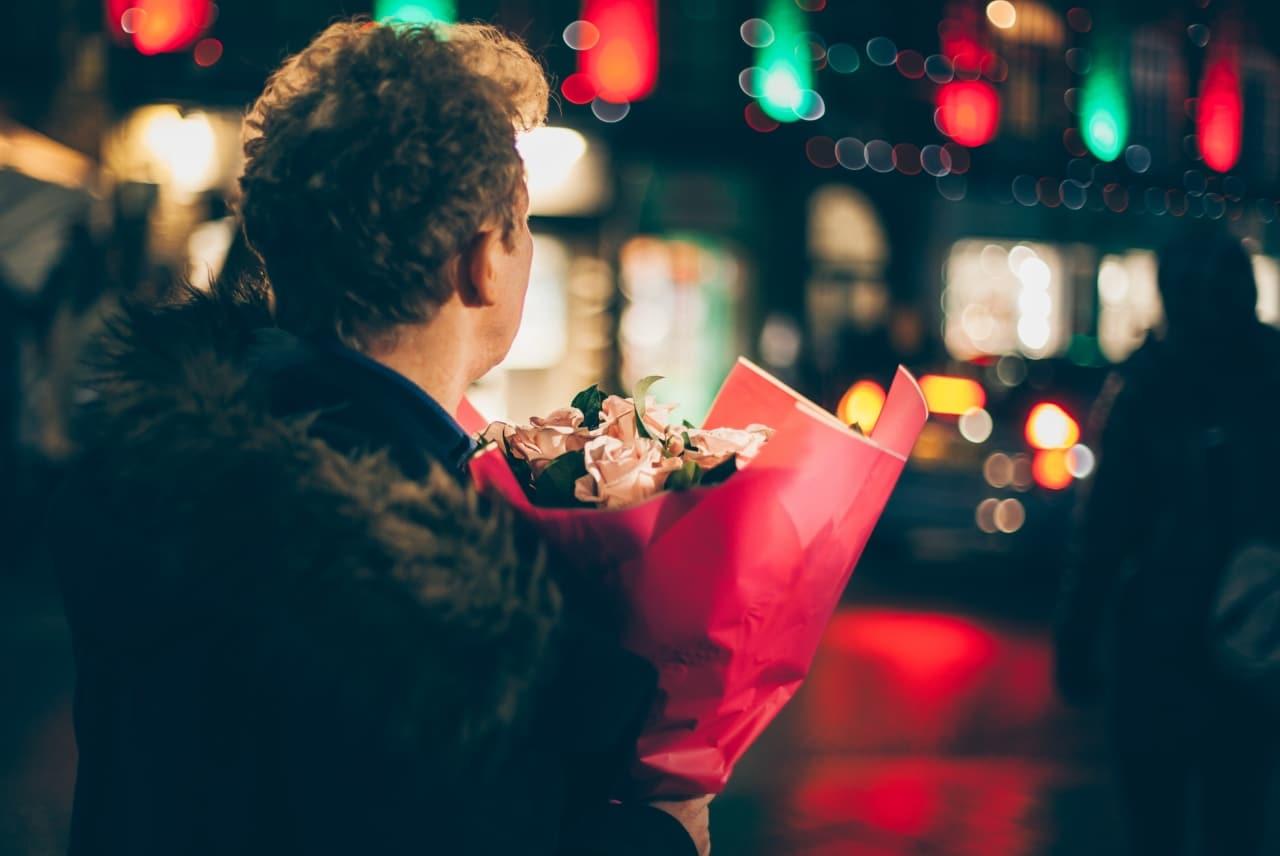 man, flowers, gift